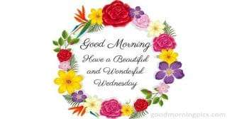 image with colorful flowers to wish a happy wednesday